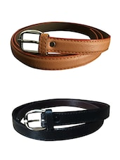 Beige, Black Leatherette Combos Belt - By