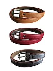 Beige, Red, Black Leatherette Combos Belt - By