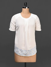 White Round Neck Embroidered Top - Urban Helsinki