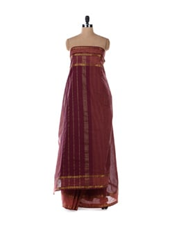Rust Cotton Saree With Purple Stripes - Platinum Sarees