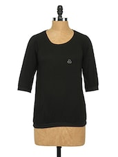 Cotton Round Neck Top - Sepia