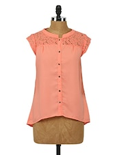 Polyester Floral Lace Top - Sepia