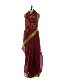 Maroon Cotton Saree - Platinum Sarees