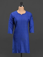 Plain Solid & Pintuck Cotton Kurti - Purple Oyster