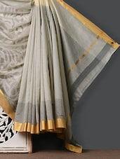 Zari Work Tussar Cotton Silk Saree - Purple Oyster