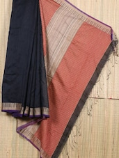 Navy Blue Resham Saree - Cotton Koleksi