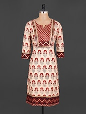 Chevron Border Cotton Kurta - Jhalani Exports
