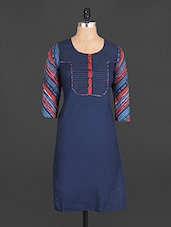 Stripped Sleeves Cotton Kurta - Jhalani Exports