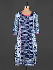 Quarter Sleeves Block Print Cotton Kurta - Jhalani Exports