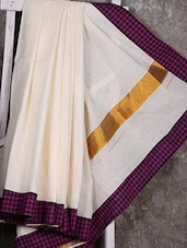 Check Bordered White Handloom Saree - Creation