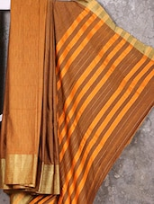 Mustard Brown Cotton Silk Handloom Saree - Creation