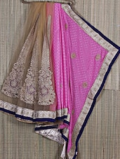 Zari Embroidered Half & Half Net-Chiffon Saree - Creation