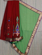 Half & Half Embroidered Chiffon Saree - Creation