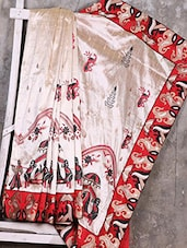 Beige & Red Embroidered Art Silk Saree - Creation