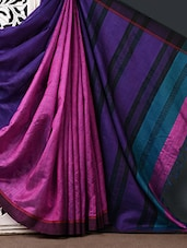 Pink Silk Saree With Striped Aanchal - CHITRANSH
