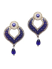 Beautiful Blue Pearl Embellished Earrings - Bazarvilla