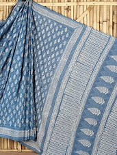 Blue Printed Cotton Saree - Geroo