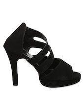 Black Zipper Closure Heel Sandals - IL Vigore