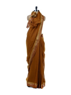 Brown Plain Bordered Saree - Platinum Sarees