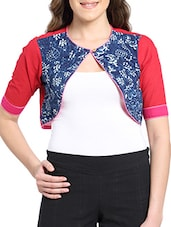 Patchwork And Printed Work Shrug - Desiweaves