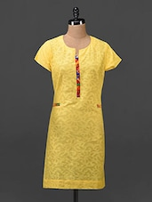 Yellow Plain Solid Cotton Tunic - Tissu