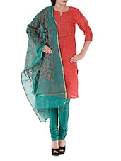 Red And Green Unstitched Suit Piece - Rooh