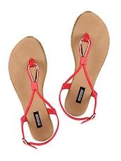Red Sling Back Leatherette Flat Sandals - Karizma Shoes