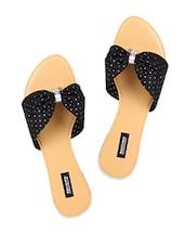 Black Polka Dot Slip On Flats - Karizma Shoes