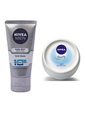 Nivea Men Dark Spot Reduction Face Wash, 100ml With Free Nivea Soft Cream, 25ml - By