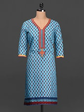 Embroidered Placket Quarter Sleeves Cotton Kurta - SHREE
