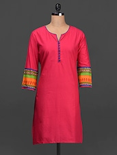 Tribal Print Border Sleeves Cotton Kurta - SHREE