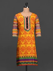 Quarter Sleeves Ethnic Print Cotton Kurta - SHREE