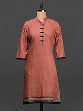 Red Quarter Sleeves Cotton Kurta - SHREE