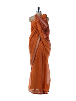 Orange Printed Saree With Gold Border - Platinum Sarees