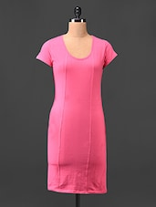 Pink Plain Round Neck Bodycon Dress - Hotberries