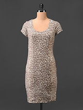 Round Neck Animal Printed Bodycon Dress - Hotberries