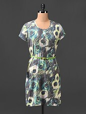 Abstract Arty Printed Shift Dress With Waist Belt - Hotberries