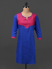 Printed Yoke Royal Blue Cotton Kurti - MOTIF