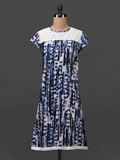 Blue Lace Yoke Printed Rayon Kurti - MOTIF