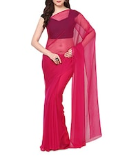 Magenta Chiffon Saree With Blouse - AKSARA
