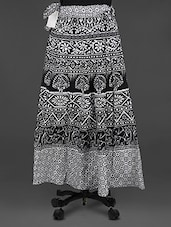 Monochrome Printed Cotton Wrap Skirt - Soundarya