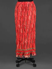 Red Block Printed Long Skirt - Soundarya