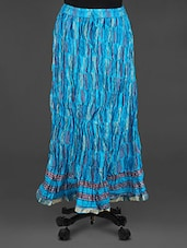 Blue Block Printed Long Skirt - Soundarya