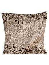 Sanaa Ombrey Penal With Smoking, Beed Work Cushion Cover Taupe - By