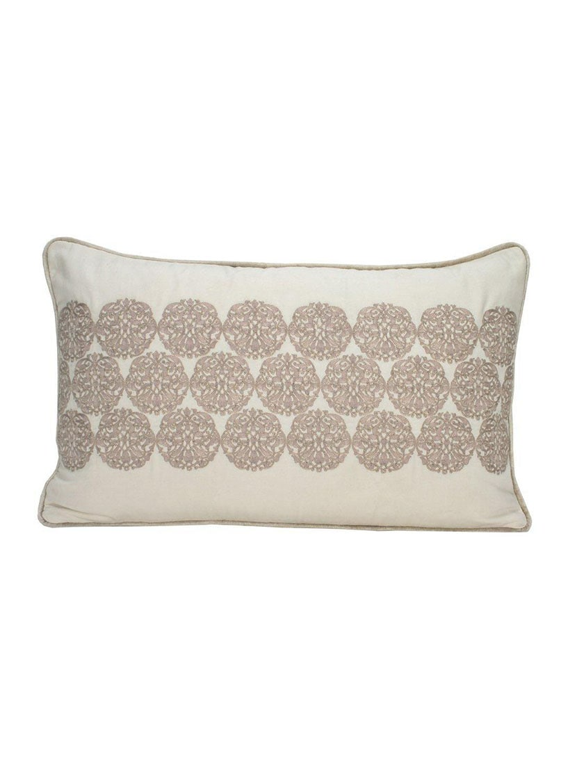 Sanaa Welting Beige With Embroidery Cushion Cover Ivory/Beige - By