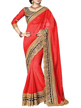 red georgette saree -  online shopping for Sarees