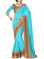 sky blue georgette saree -  online shopping for Sarees