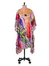 Abstract Digital Printed Georgette Kaftan - 7 Colors Lifestyle