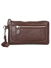 Brown Front Zip Wristlet Pouch - Kara