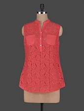 Red Sleeveless Lace Top - Wildrose